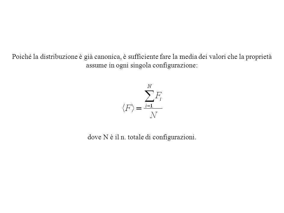 Poiché la distribuzione è già canonica, è sufficiente fare la media dei valori che la proprietà assume in ogni singola configurazione: dove N è il n.