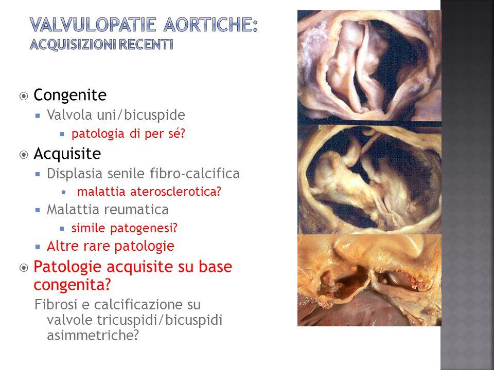  Bicuspidia  Associazione con lesioni aortiche  Post-infiammatorie  Possibili recidive, quadri sistemici  Forme senili  Progressivo aumento