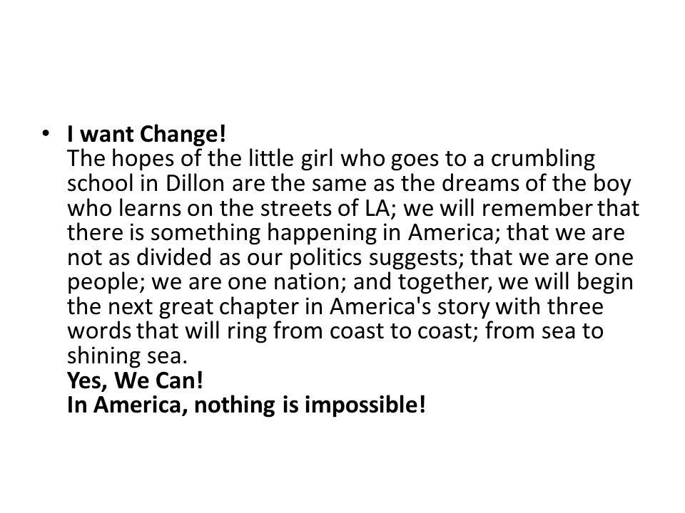 I want Change.
