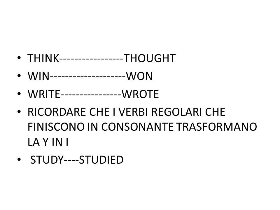 THINK-----------------THOUGHT WIN--------------------WON WRITE----------------WROTE RICORDARE CHE I VERBI REGOLARI CHE FINISCONO IN CONSONANTE TRASFORMANO LA Y IN I STUDY----STUDIED