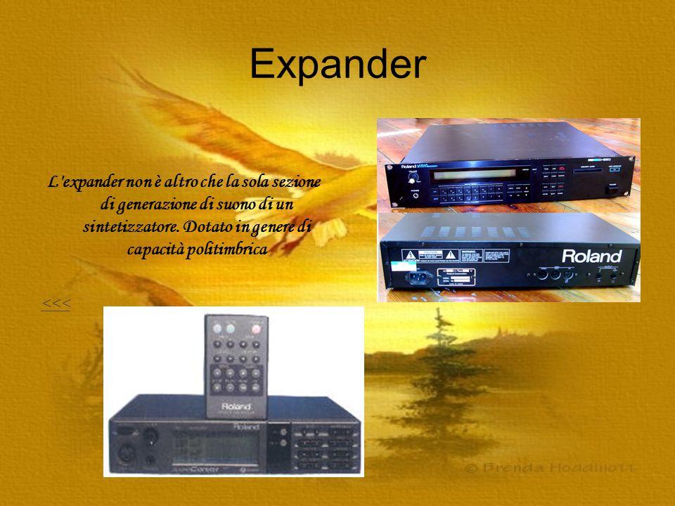 Expander L'expander non è altro che la sola sezione di generazione di suono di un sintetizzatore. Dotato in genere di capacità politimbrica <<<