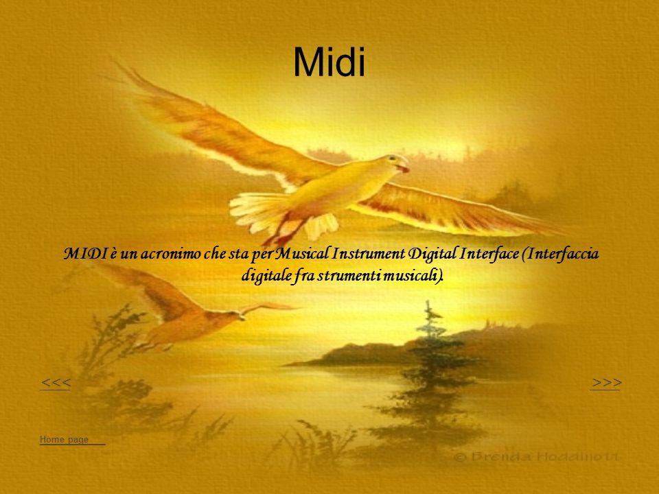 Midi MIDI è un acronimo che sta per Musical Instrument Digital Interface (Interfaccia digitale fra strumenti musicali). <<< >>>>> Home page