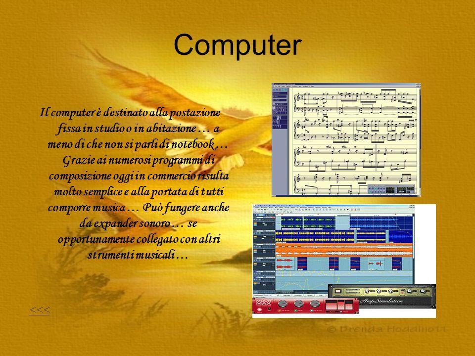 Computer Il computer è destinato alla postazione fissa in studio o in abitazione … a meno di che non si parli di notebook … Grazie ai numerosi program