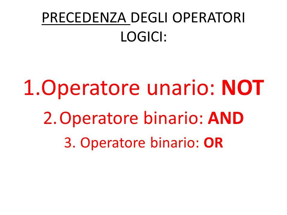 PRECEDENZA DEGLI OPERATORI LOGICI: 1.Operatore unario: NOT 2.Operatore binario: AND 3.Operatore binario: OR