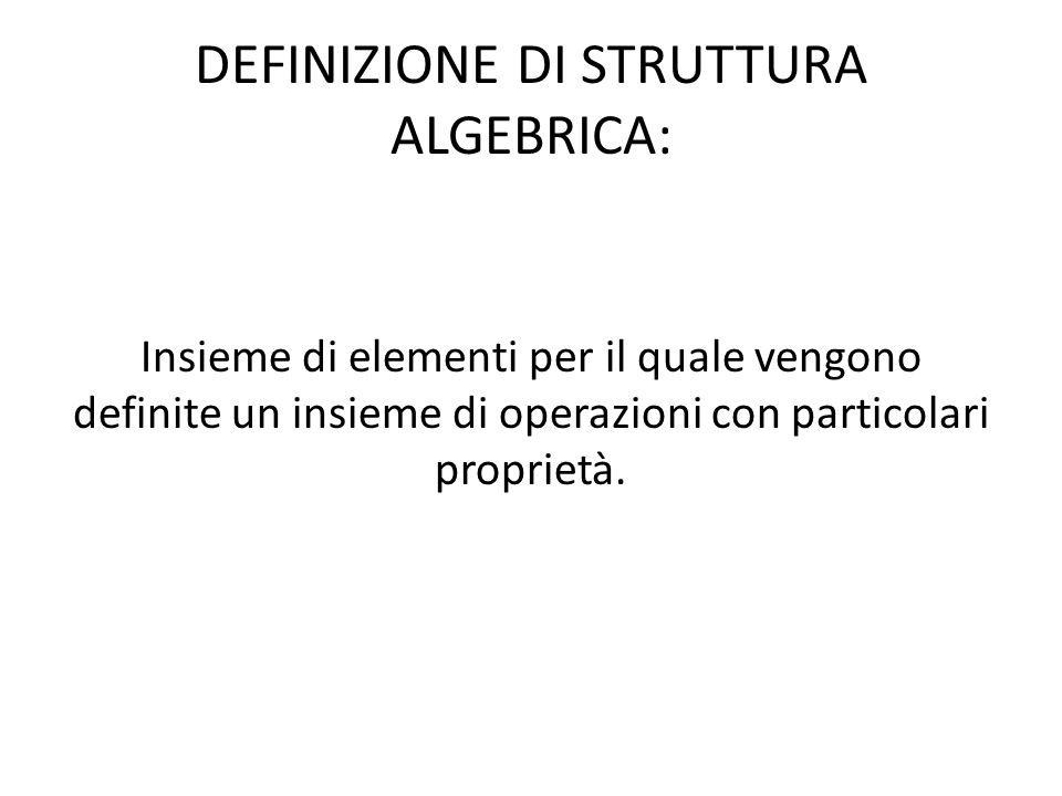 DEFINIZIONE DI STRUTTURA ALGEBRICA: Insieme di elementi per il quale vengono definite un insieme di operazioni con particolari proprietà.