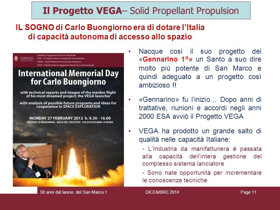 IL SOGNO di Carlo Buongiorno era di dotare l'Italia di capacità autonoma di accesso allo spazio Page 1150 anni dal lancio del San Marco 1 Il Progetto