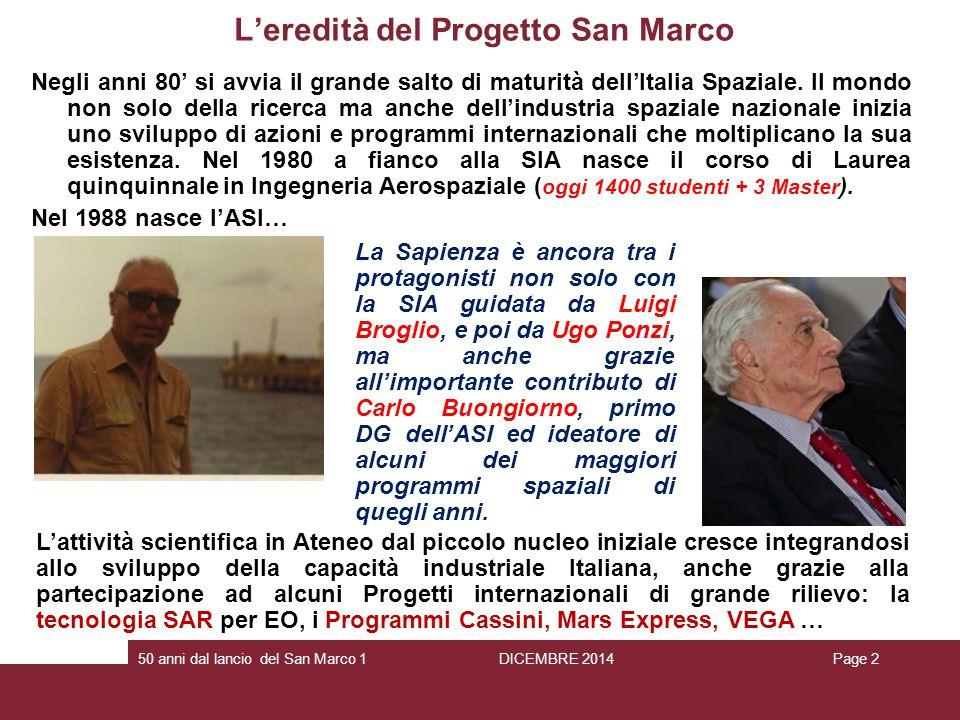 L'eredità del Progetto San Marco Negli anni 80' si avvia il grande salto di maturità dell'Italia Spaziale. Il mondo non solo della ricerca ma anche de