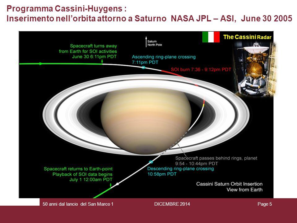 Programma Cassini-Huygens : Inserimento nell'orbita attorno a Saturno NASA JPL – ASI, June 30 2005 The Cassini Radar Page 550 anni dal lancio del San