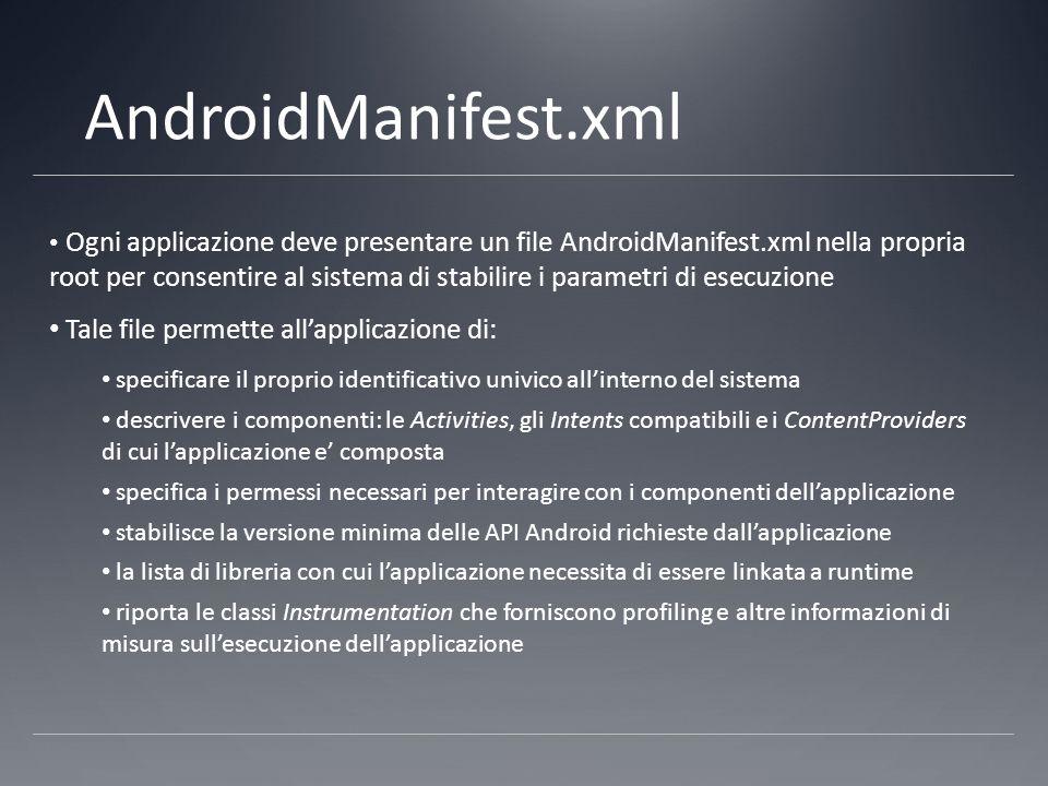 AndroidManifest.xml Ogni applicazione deve presentare un file AndroidManifest.xml nella propria root per consentire al sistema di stabilire i parametri di esecuzione Tale file permette all'applicazione di: specificare il proprio identificativo univico all'interno del sistema descrivere i componenti: le Activities, gli Intents compatibili e i ContentProviders di cui l'applicazione e' composta specifica i permessi necessari per interagire con i componenti dell'applicazione stabilisce la versione minima delle API Android richieste dall'applicazione la lista di libreria con cui l'applicazione necessita di essere linkata a runtime riporta le classi Instrumentation che forniscono profiling e altre informazioni di misura sull'esecuzione dell'applicazione