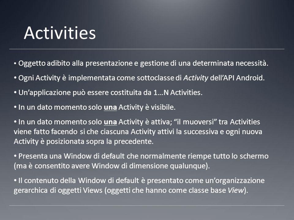 Activities Oggetto adibito alla presentazione e gestione di una determinata necessità.