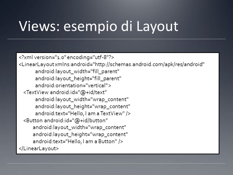 Views: esempio di Layout