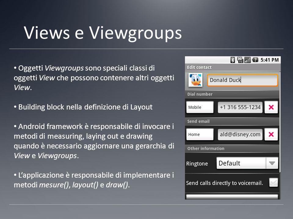 Views e Viewgroups Oggetti Viewgroups sono speciali classi di oggetti View che possono contenere altri oggetti View.