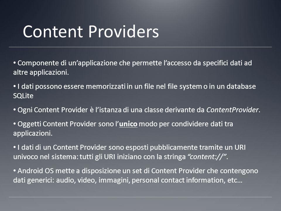 Content Providers Componente di un'applicazione che permette l'accesso da specifici dati ad altre applicazioni.