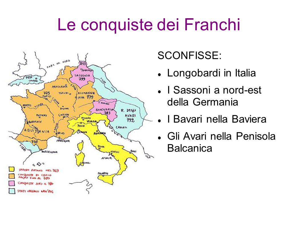 Le conquiste dei Franchi SCONFISSE: Longobardi in Italia I Sassoni a nord-est della Germania I Bavari nella Baviera Gli Avari nella Penisola Balcanica