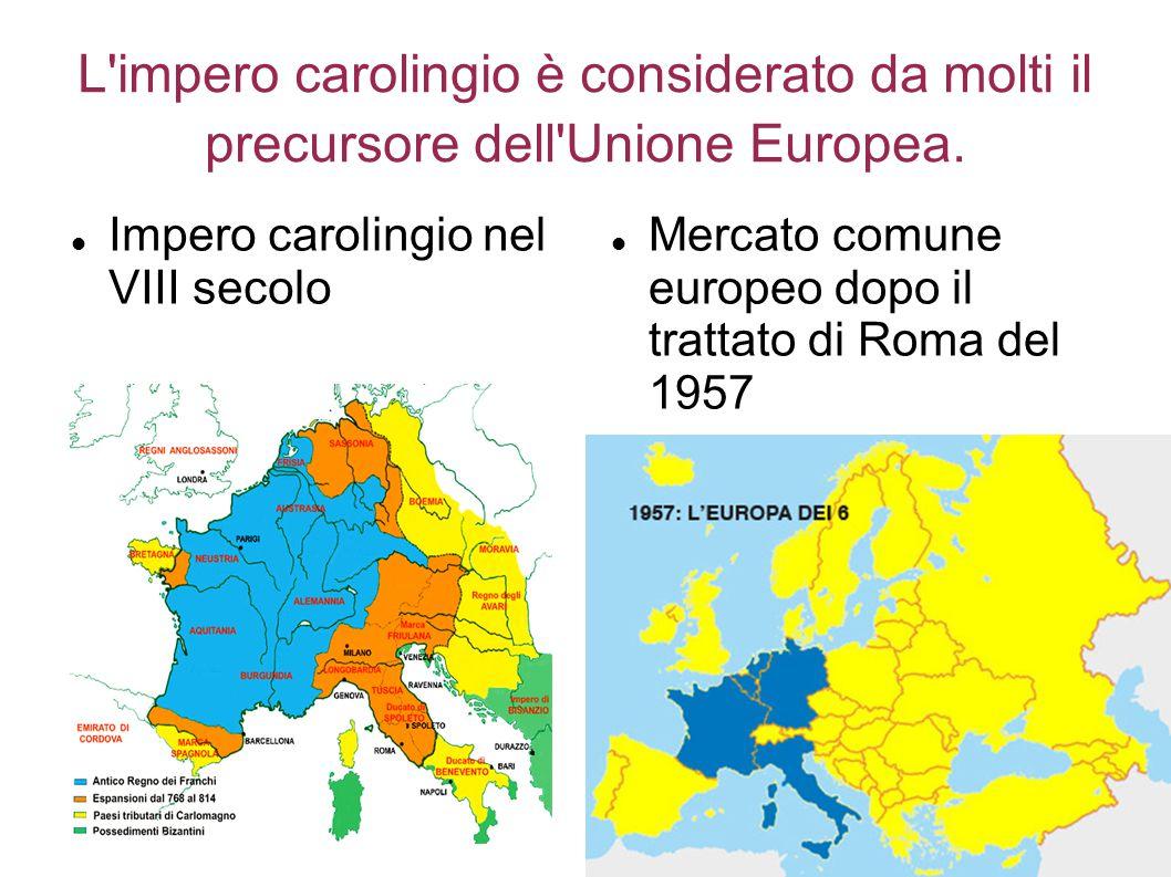 L'impero carolingio è considerato da molti il precursore dell'Unione Europea. Impero carolingio nel VIII secolo Mercato comune europeo dopo il trattat