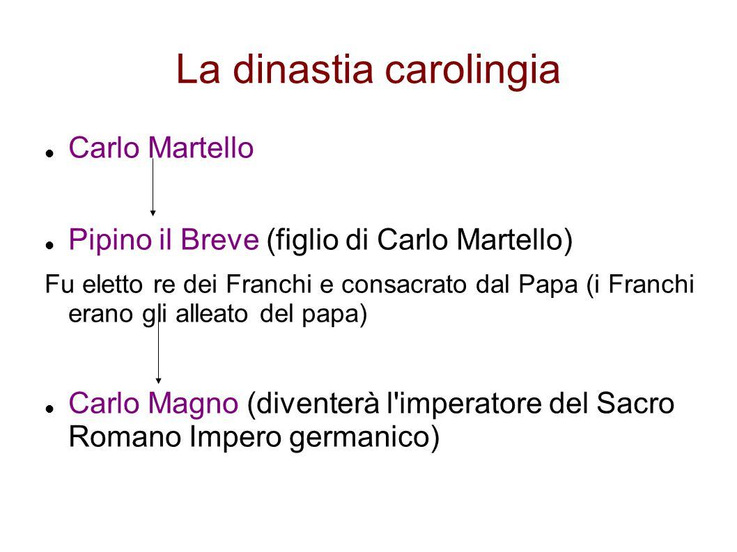 La dinastia carolingia Carlo Martello Pipino il Breve (figlio di Carlo Martello) Fu eletto re dei Franchi e consacrato dal Papa (i Franchi erano gli a