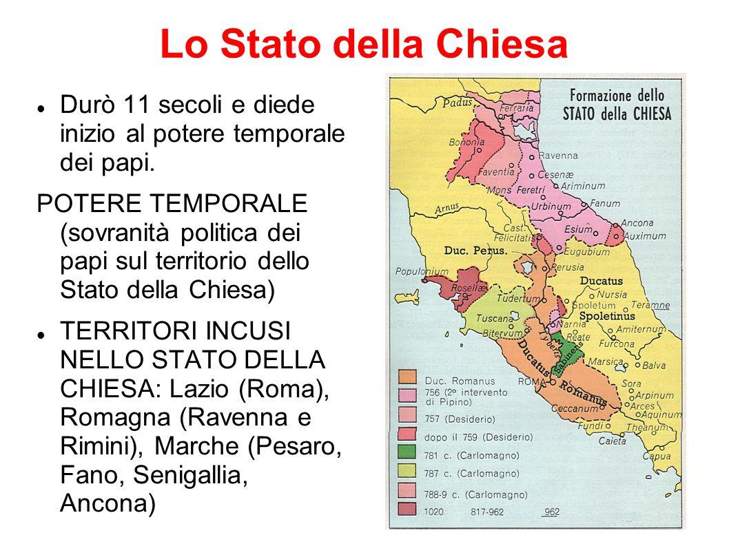 Lo Stato della Chiesa Durò 11 secoli e diede inizio al potere temporale dei papi. POTERE TEMPORALE (sovranità politica dei papi sul territorio dello S