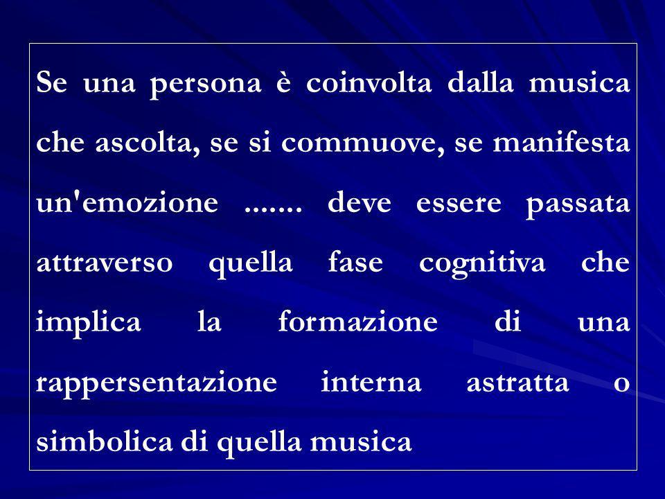 Se una persona è coinvolta dalla musica che ascolta, se si commuove, se manifesta un'emozione....... deve essere passata attraverso quella fase cognit