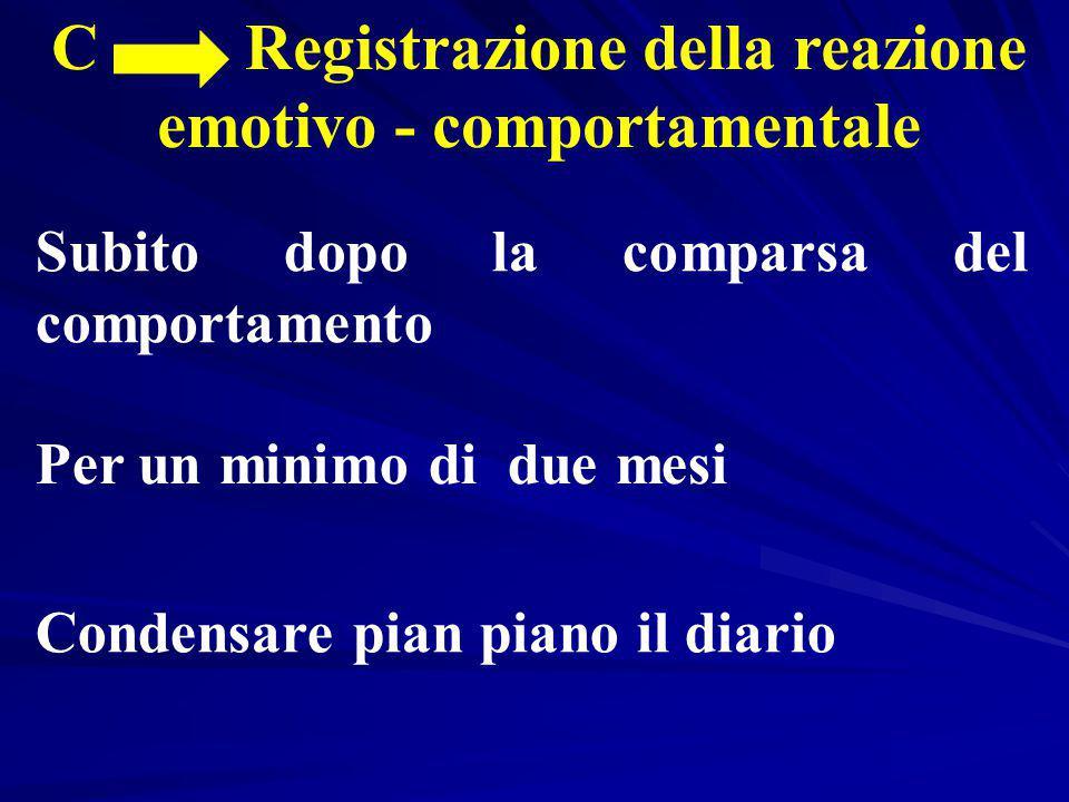 C Registrazione della reazione emotivo - comportamentale Subito dopo la comparsa del comportamento Per un minimo di due mesi Condensare pian piano il