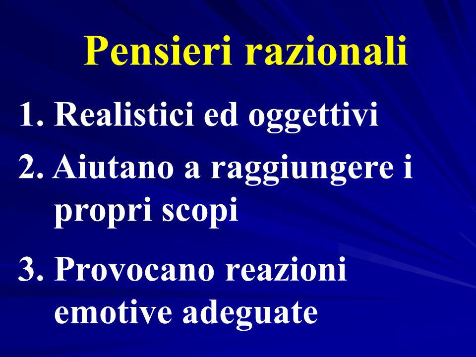 Pensieri razionali 1. Realistici ed oggettivi 2. Aiutano a raggiungere i propri scopi 3. Provocano reazioni emotive adeguate