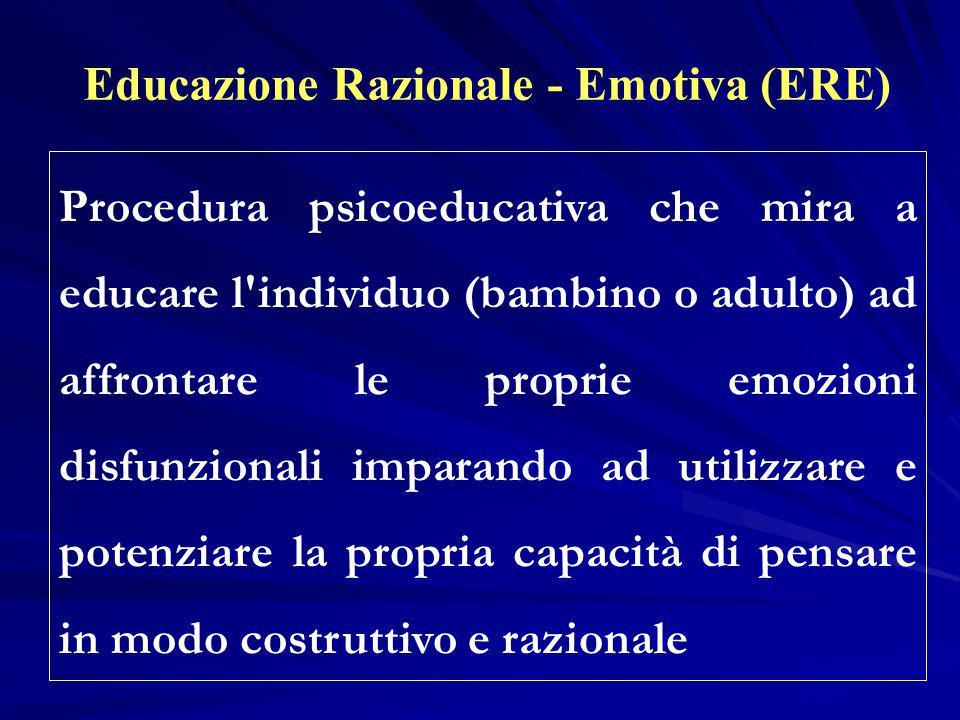 Educazione Razionale - Emotiva (ERE) Procedura psicoeducativa che mira a educare l'individuo (bambino o adulto) ad affrontare le proprie emozioni disf