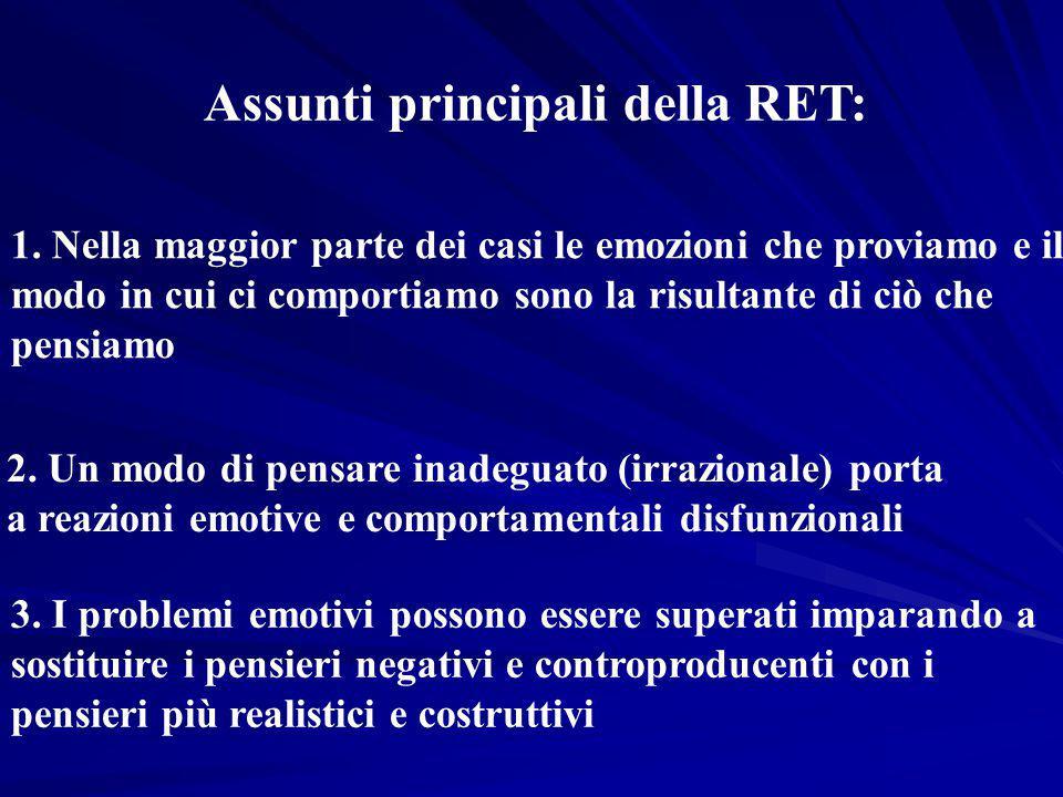 Assunti principali della RET: 1. Nella maggior parte dei casi le emozioni che proviamo e il modo in cui ci comportiamo sono la risultante di ciò che p