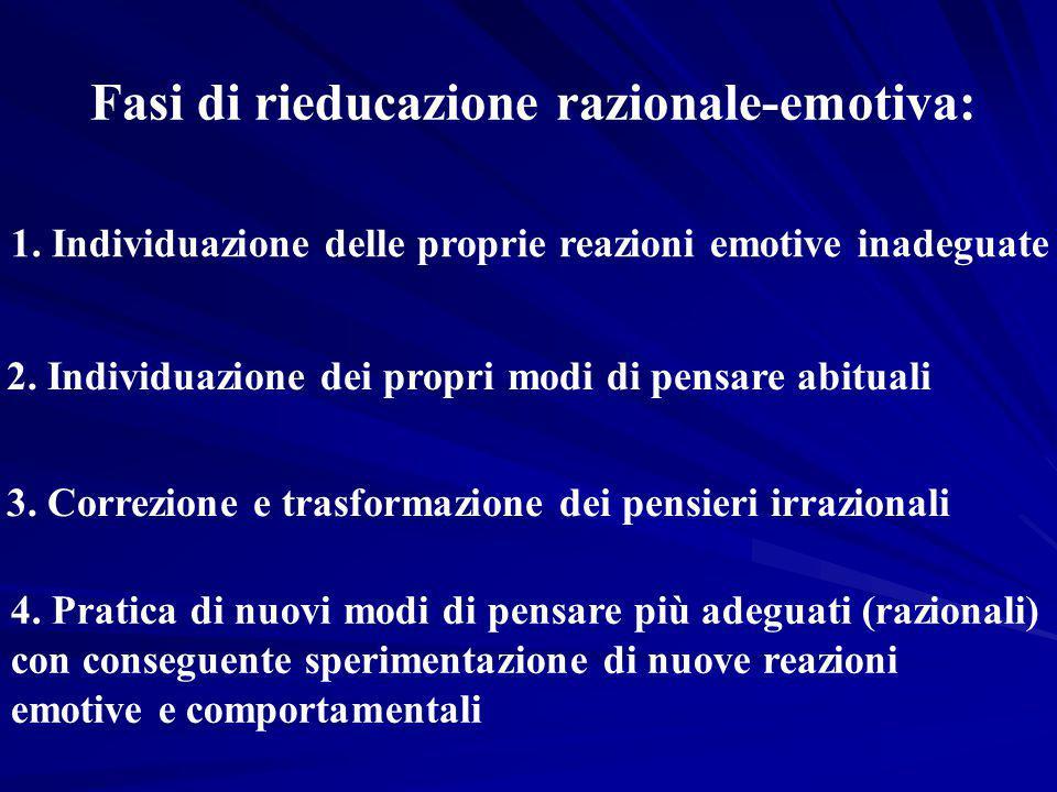Fasi di rieducazione razionale-emotiva: 1. Individuazione delle proprie reazioni emotive inadeguate 2. Individuazione dei propri modi di pensare abitu