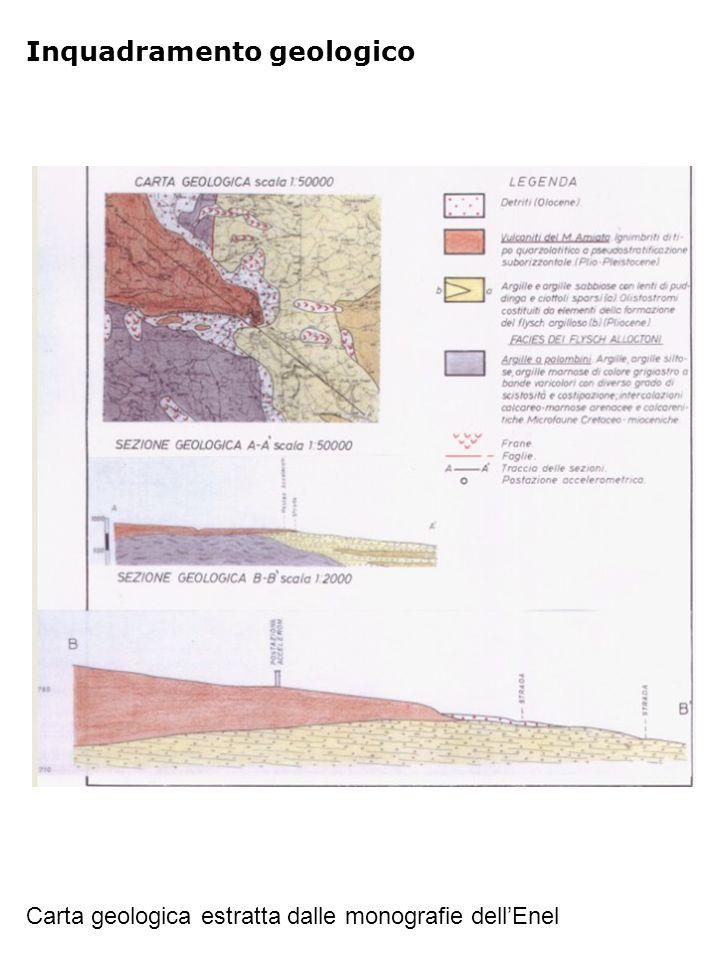 Riferimenti Carta geologica estratta dalle monografie dell'Enel