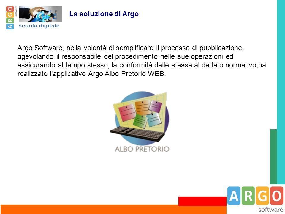 Argo Software, nella volontà di semplificare il processo di pubblicazione, agevolando il responsabile del procedimento nelle sue operazioni ed assicur
