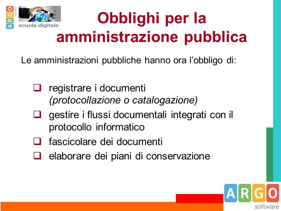 Obblighi per la amministrazione pubblica Le amministrazioni pubbliche hanno ora l'obbligo di:  registrare i documenti (protocollazione o catalogazion