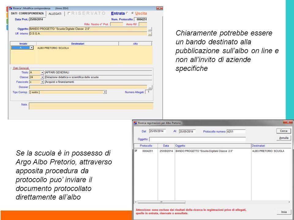 Se la scuola è in possesso di Argo Albo Pretorio, attraverso apposita procedura da protocollo puo' inviare il documento protocollato direttamente all'