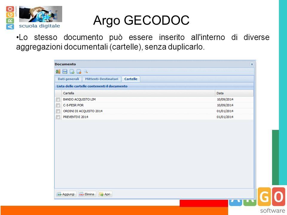 Argo GECODOC Lo stesso documento può essere inserito all'interno di diverse aggregazioni documentali (cartelle), senza duplicarlo.
