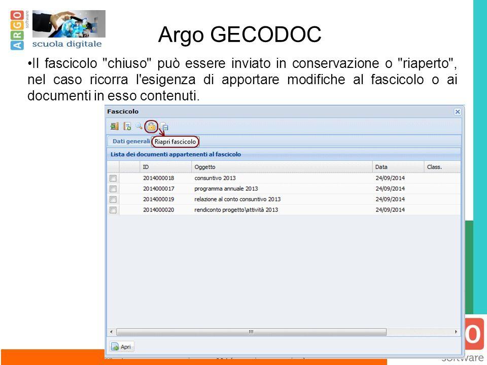 Argo GECODOC Il fascicolo