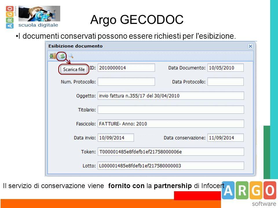 Argo GECODOC I documenti conservati possono essere richiesti per l'esibizione. Il servizio di conservazione viene fornito con la partnership di Infoce