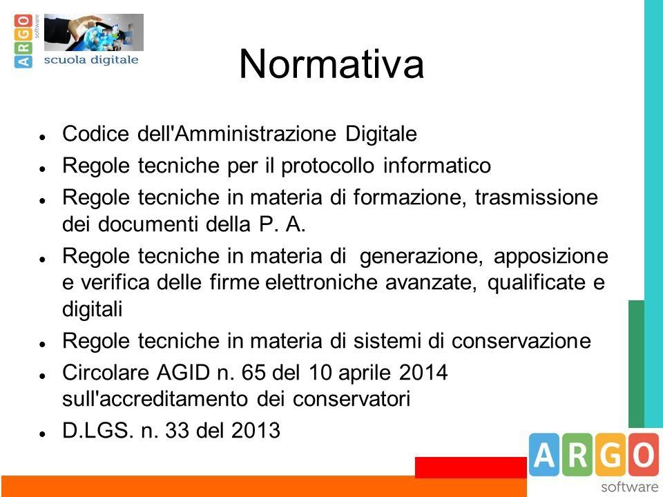 Normativa Codice dell'Amministrazione Digitale Regole tecniche per il protocollo informatico Regole tecniche in materia di formazione, trasmissione de