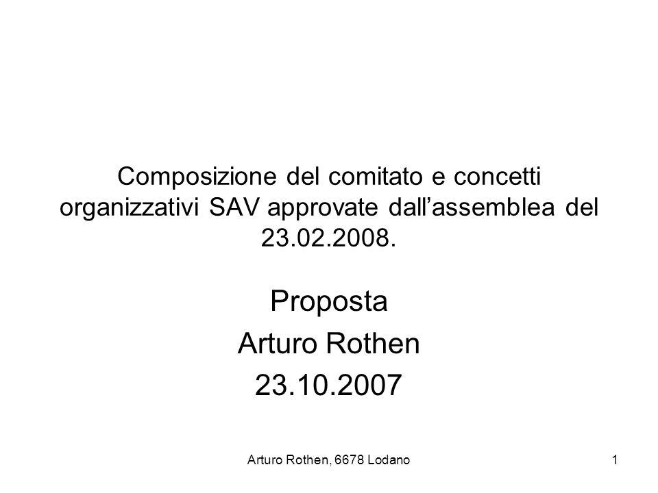 Arturo Rothen, 6678 Lodano1 Composizione del comitato e concetti organizzativi SAV approvate dall'assemblea del 23.02.2008.