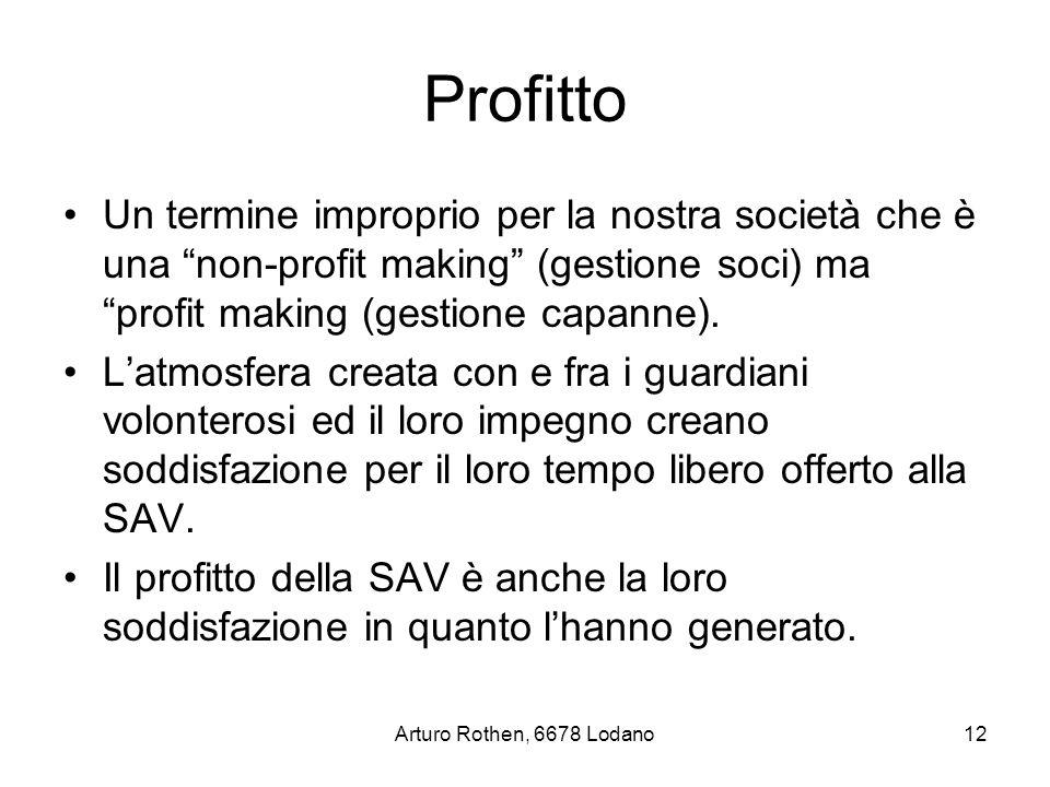 Arturo Rothen, 6678 Lodano12 Profitto Un termine improprio per la nostra società che è una non-profit making (gestione soci) ma profit making (gestione capanne).