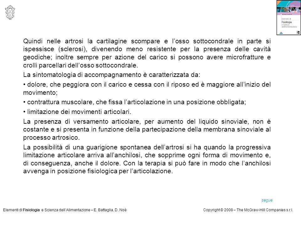 Elementi di Fisiologia e Scienza dell'Alimentazione – E. Battaglia, D. NoèCopyright © 2008 – The McGraw-Hill Companies s.r.l. Quindi nelle artrosi la