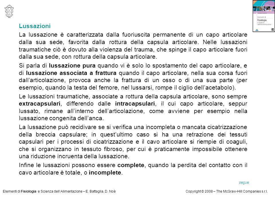 Elementi di Fisiologia e Scienza dell'Alimentazione – E. Battaglia, D. NoèCopyright © 2008 – The McGraw-Hill Companies s.r.l. Lussazioni La lussazione