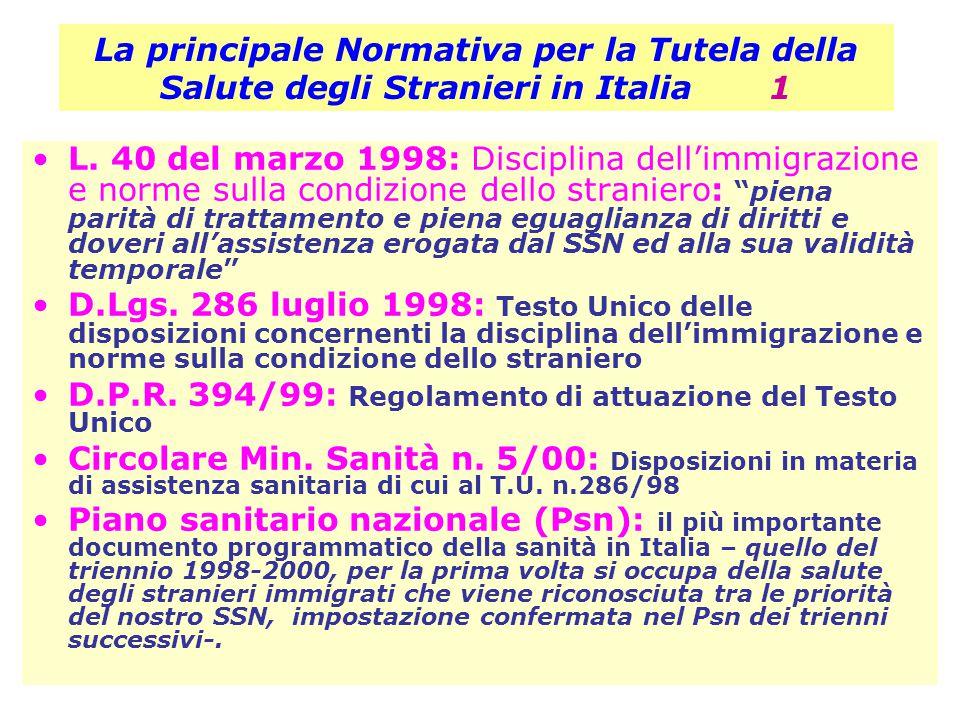 La principale Normativa per la Tutela della Salute degli Stranieri in Italia 1 L. 40 del marzo 1998: Disciplina dell'immigrazione e norme sulla condiz