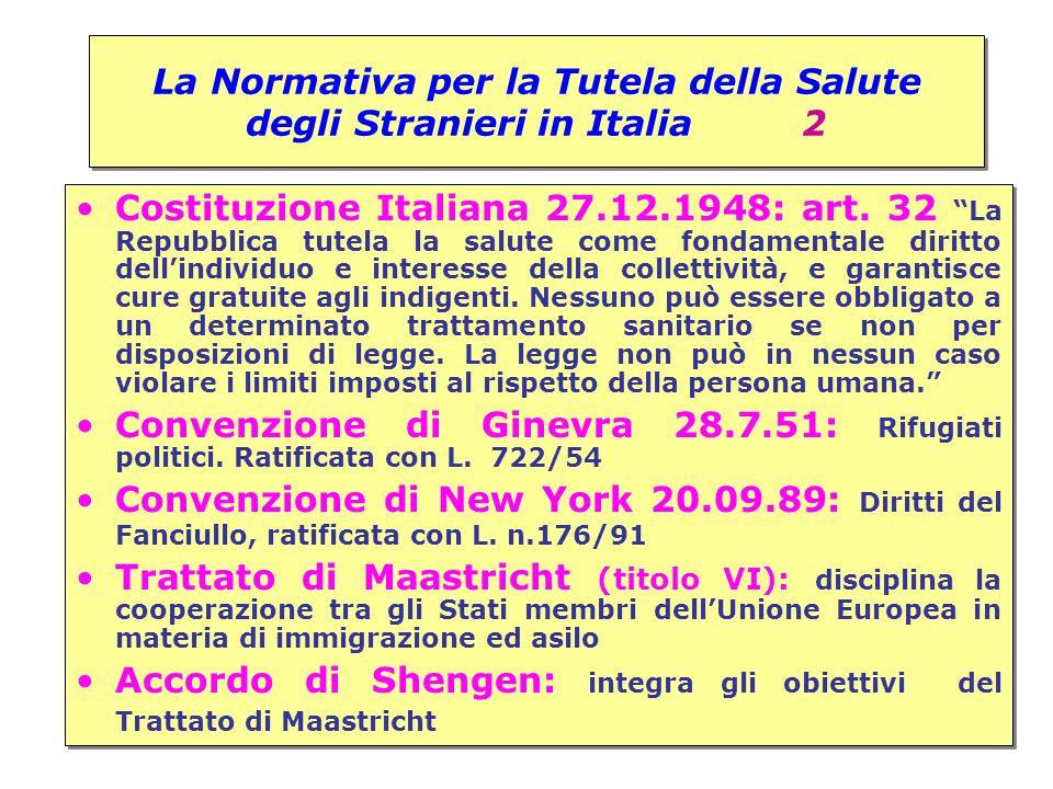 """La Normativa per la Tutela della Salute degli Stranieri in Italia 2 Costituzione Italiana 27.12.1948: art. 32 """"La Repubblica tutela la salute come fon"""