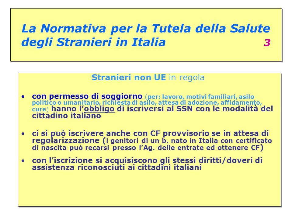 La Normativa per la Tutela della Salute degli Stranieri in Italia 3 Stranieri non UE in regola con permesso di soggiorno (per: lavoro, motivi familiar
