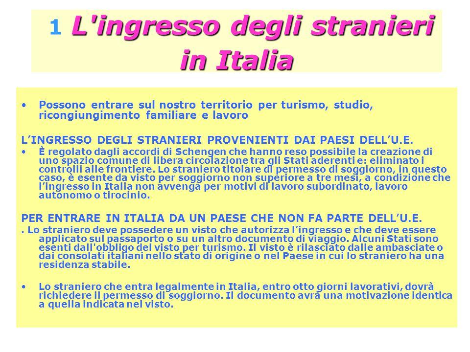 L ingresso degli stranieri in Italia 1 L ingresso degli stranieri in Italia Possono entrare sul nostro territorio per turismo, studio, ricongiungimento familiare e lavoro L'INGRESSO DEGLI STRANIERI PROVENIENTI DAI PAESI DELL'U.E.