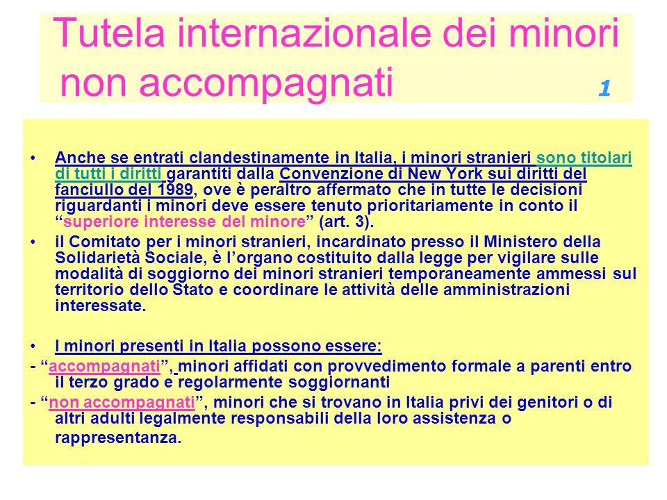 Tutela internazionale dei minori non accompagnati 1 Anche se entrati clandestinamente in Italia, i minori stranieri sono titolari di tutti i diritti g