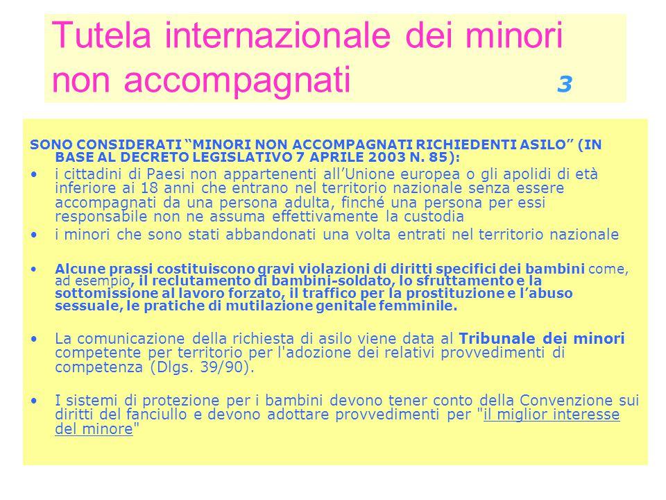 Tutela internazionale dei minori non accompagnati 3 SONO CONSIDERATI MINORI NON ACCOMPAGNATI RICHIEDENTI ASILO (IN BASE AL DECRETO LEGISLATIVO 7 APRILE 2003 N.
