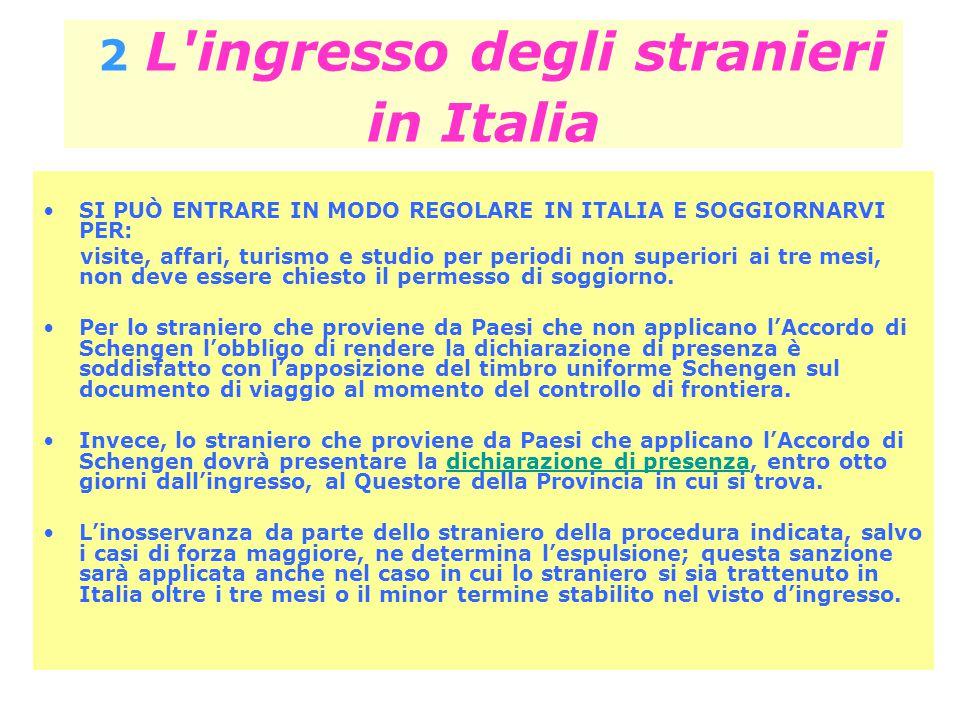 2 L'ingresso degli stranieri in Italia SI PUÒ ENTRARE IN MODO REGOLARE IN ITALIA E SOGGIORNARVI PER: visite, affari, turismo e studio per periodi non