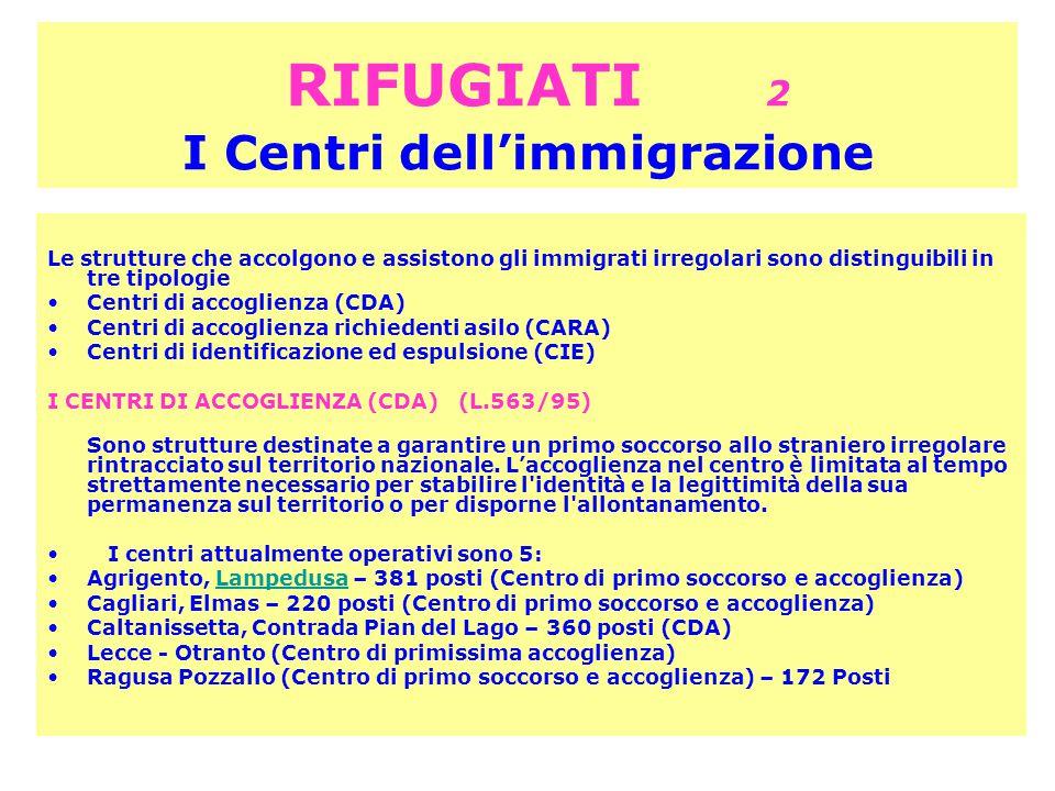 RIFUGIATI 2 I Centri dell'immigrazione Le strutture che accolgono e assistono gli immigrati irregolari sono distinguibili in tre tipologie Centri di accoglienza (CDA) Centri di accoglienza richiedenti asilo (CARA) Centri di identificazione ed espulsione (CIE) I CENTRI DI ACCOGLIENZA (CDA) (L.563/95) Sono strutture destinate a garantire un primo soccorso allo straniero irregolare rintracciato sul territorio nazionale.