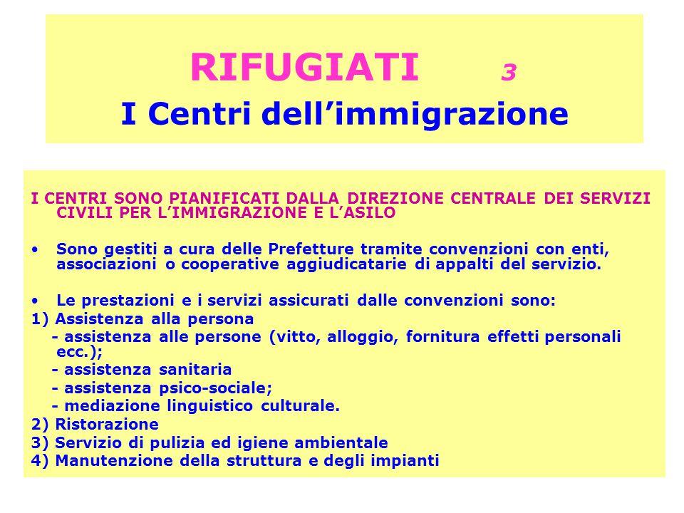 RIFUGIATI 3 I Centri dell'immigrazione I CENTRI SONO PIANIFICATI DALLA DIREZIONE CENTRALE DEI SERVIZI CIVILI PER L'IMMIGRAZIONE E L'ASILO Sono gestiti