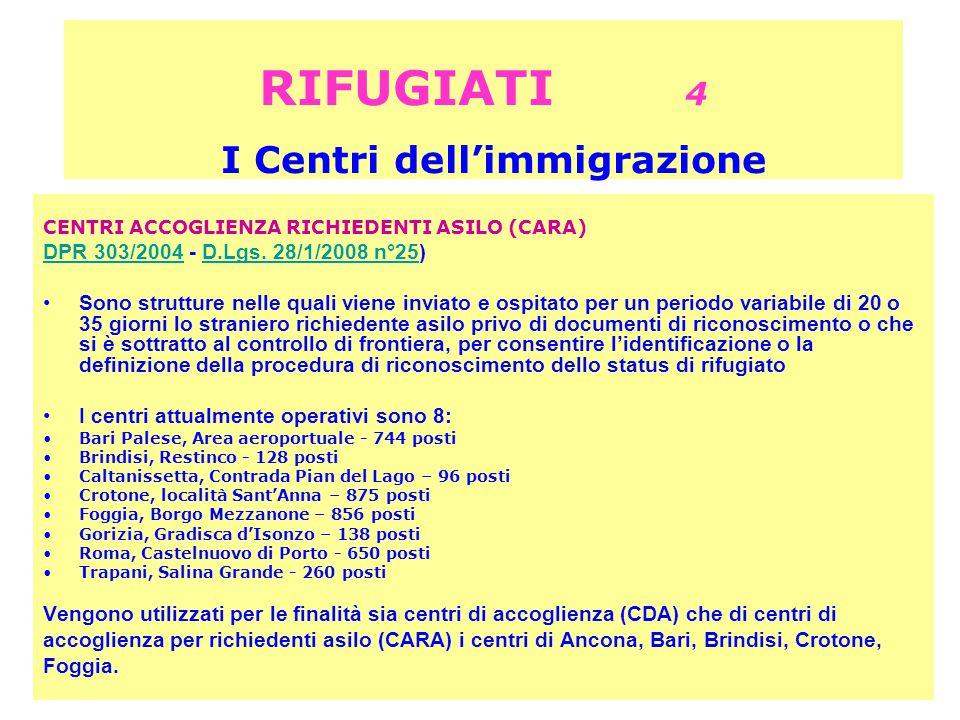 RIFUGIATI 4 I Centri dell'immigrazione CENTRI ACCOGLIENZA RICHIEDENTI ASILO (CARA) DPR 303/2004DPR 303/2004 - D.Lgs.
