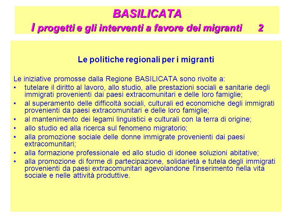 BASILICATA I progetti e gli interventi a favore dei migranti 2 Le politiche regionali per i migranti Le iniziative promosse dalla Regione BASILICATA s